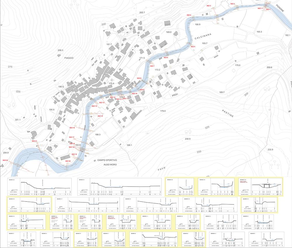 Figura 7. Planimetría y secciones hidráulicas. En amarillo las secciones que muestran los puntos críticos destacados.