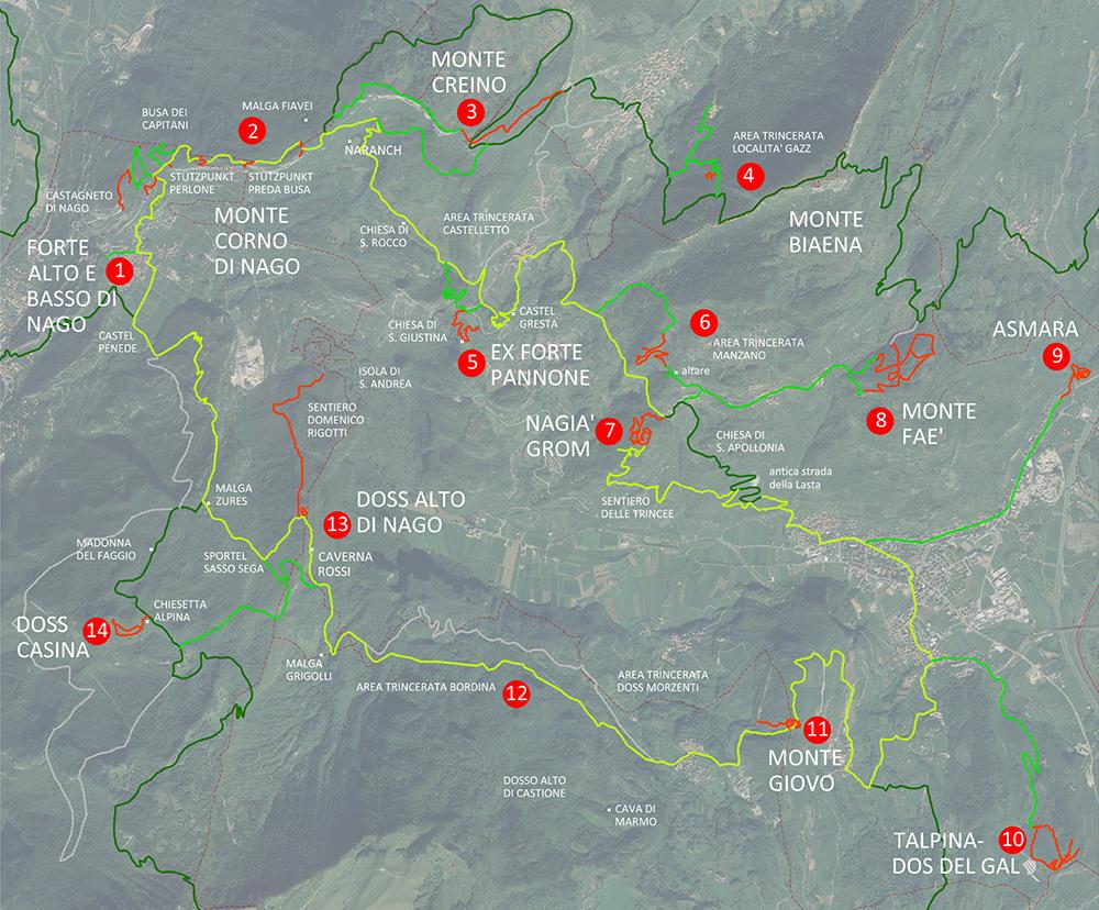 Figura 12. Mapa del circuito de proyecto (en amarillo), que conecta los puestos militares (en rojo) con los ramales y otros lugares de interés (en verde). El área se une al Sendero de la Paz (de color verde oscuro).