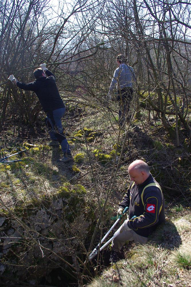 Figuras 13, 14 y 15. Trabajos de limpieza de voluntarios en los puestos de Talpina, Asmara y Monte Corno di Nago.