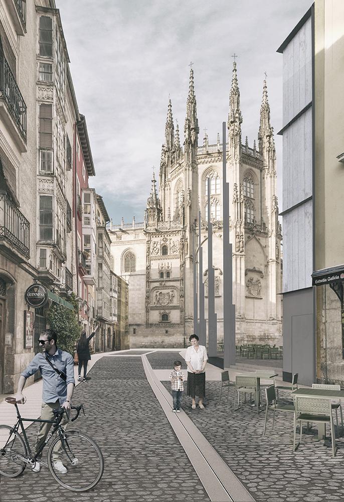 Figura 14: Recreación de la nueva perspectiva hacia el Retablo de Francisco de Colonia (izqda.) Figure 15: Esquema en planta de la localización de los elementos verticales escalonados propuestos (dcha.)