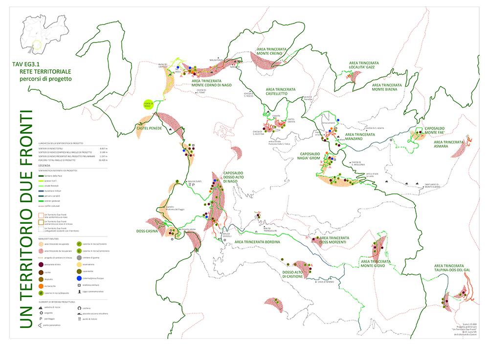 Figura 16. Panel de proyecto de los senderos, señalizando las áreas de trincheras.