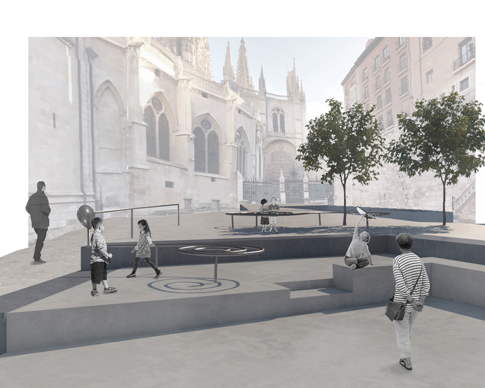 Figura 21: Fotomontaje de la zona de de juego para niños (izqda.) Figura 22: Fotomontaje de las vistas desde el futuro Centro Cidiano (dcha.)