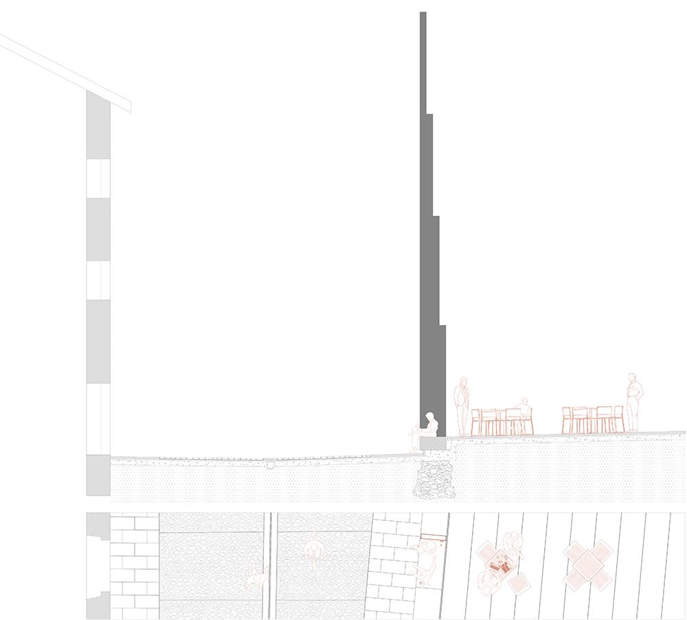 Figura 27: Plano en planta y sección de la Llana de Afuera (dcha.)