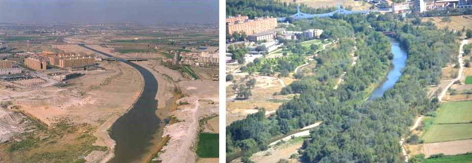 Figura 27. Imagen del antes y el después (1980-2017) de la recuperación del tramo del río Gállego anterior a su desembocadura al río Ebro. (Fuente: Ayuntamiento de Zaragoza)