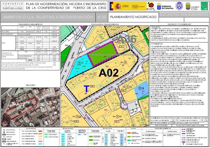 Figuras 2. Ejemplo de ficha de renovación de un espacio privado sujeto a reordenación urbanística. Fuente: Plan de Modernización, Mejora e Incremento de la Competitividad de Puerto de la Cruz.