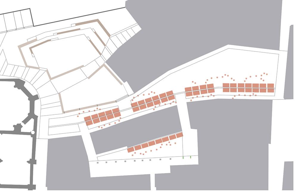 Figura 30: Esquema en planta del uso de las Llanas como mercado ocasional, rememorando sus orígenes.(izqda.) Figura31: Fotomontaje de la zona de terrazas, en el ensanchamieno de la Llana de Afuera. (dcha.)