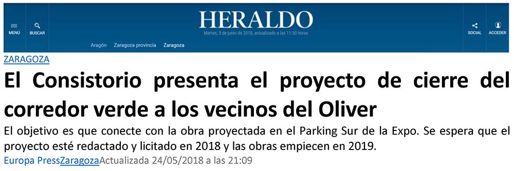 Figura 30. Noticia aparecida en el Heraldo el 24 de mayo de 2018 donde se recoge la presentación de parte del proyecto de la IVZ licitado. (Fuente: Heraldo de Aragón)