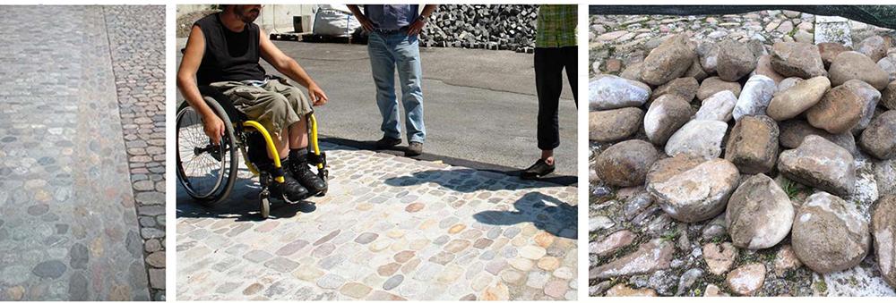 Figura 37: Ejemplo de referencia en Münsterplatz, Basilea (Suiza) y a la derecha fotografía del tipo de piezas existentes en la zona, seleccionadas para su posible reutilización.