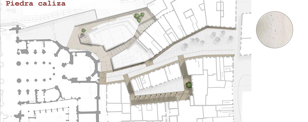 Figura 38: Localización en planta de la ubicación de la piedra caliza.
