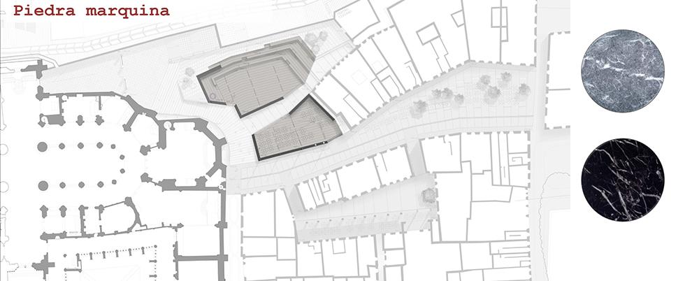 Figura 39: Localización en planta de la ubicación de la piedra marquina.