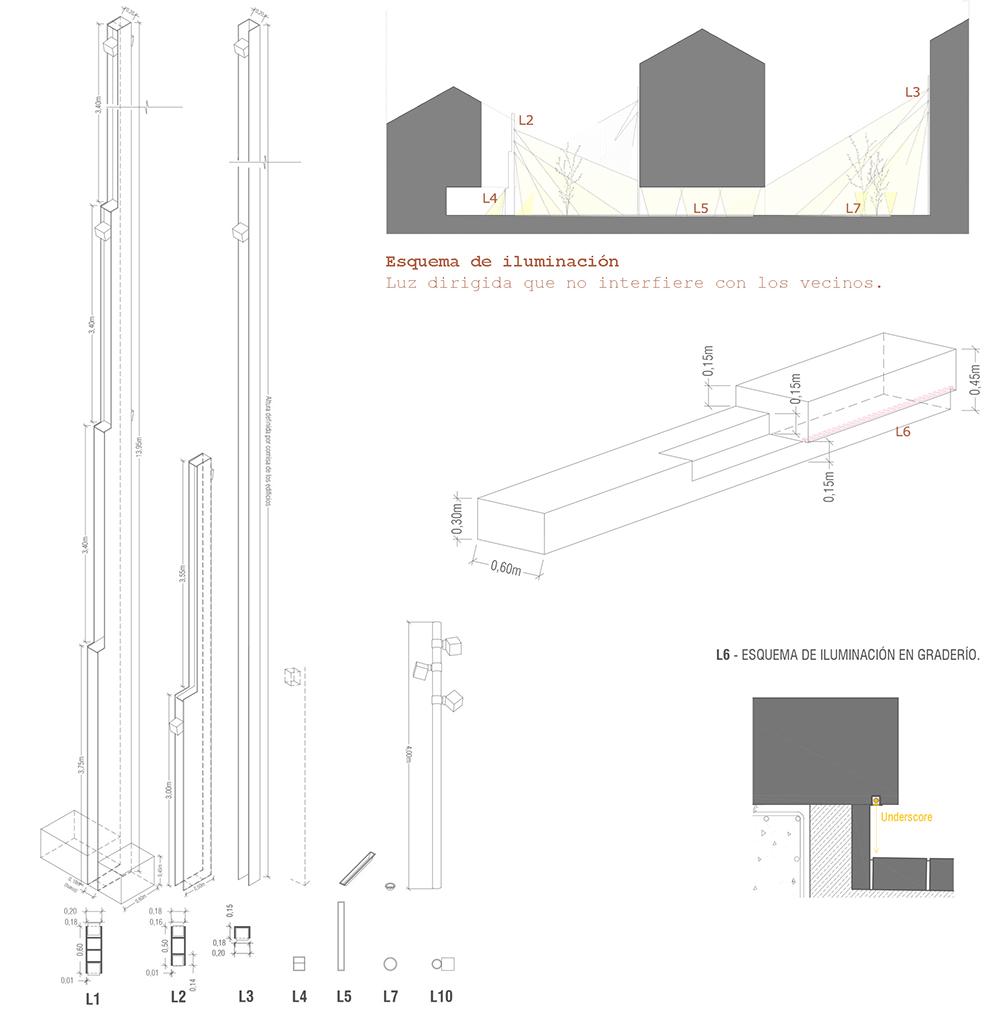 Figura 41: Diseño de elementos de soporte y esquemas de iluminación.
