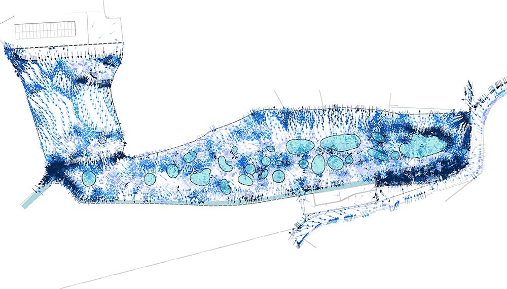 Figura 5. Análisis de las líneas de escorrentía y de las zonas de retención de agua.