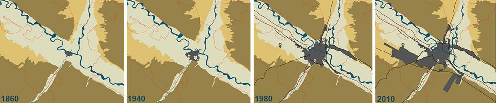 Figura 6. Evolución del crecimiento de la ciudad de Zaragoza. No es hasta el último cuarto del siglo XX cuando la ciudad comienza a interrumpir la continuidad ecológica de la llanura aluvial. (Fuente: Atalaya)