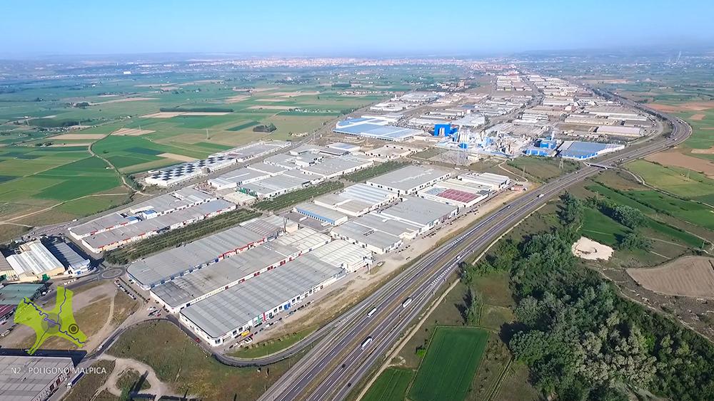 Figura 7. Vista de la N-2 y el polígono industrial de Malpica. (Fuente: A. Ibáñez, Agencia de Medio Ambiente y Sostenibilidad. Ayuntamiento de Zaragoza)