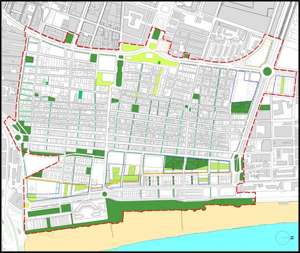 Figura 11. Plano de Zonas Verdes e Itinerarios de Coexistencia en el PEC.