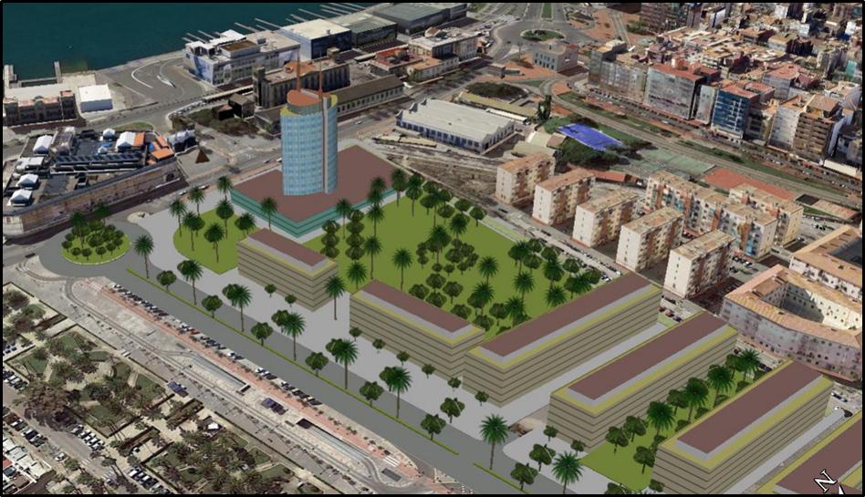 Figura 22. Vista Oblicua de una Unidad de Ejecución y Propuesta de Edificación Singular (Hotel Público como Hito Urbano de Referencia).