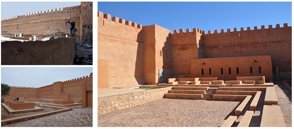 Figure 10 : Le théâtre de plein-air de la Kasbah Aghenaj, avant et après la réhabilitation des remparts (2008-2009), Agence Salima Naji ©. Le programme prévoyait au départ un auditorium sans en avoir le budget. Un théâtre de plein-air a été modelé dans la partie Nord de la Kasbah, le reste du lieu étant consacré aux espaces muséaux.