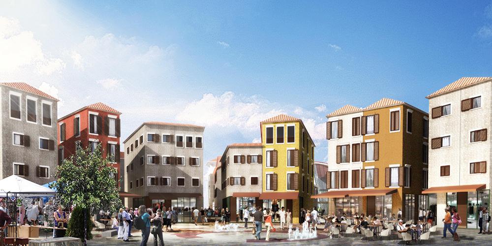 Figura 15. Plaza central de Porto Milena, con comercios, cafés y restaurantes.