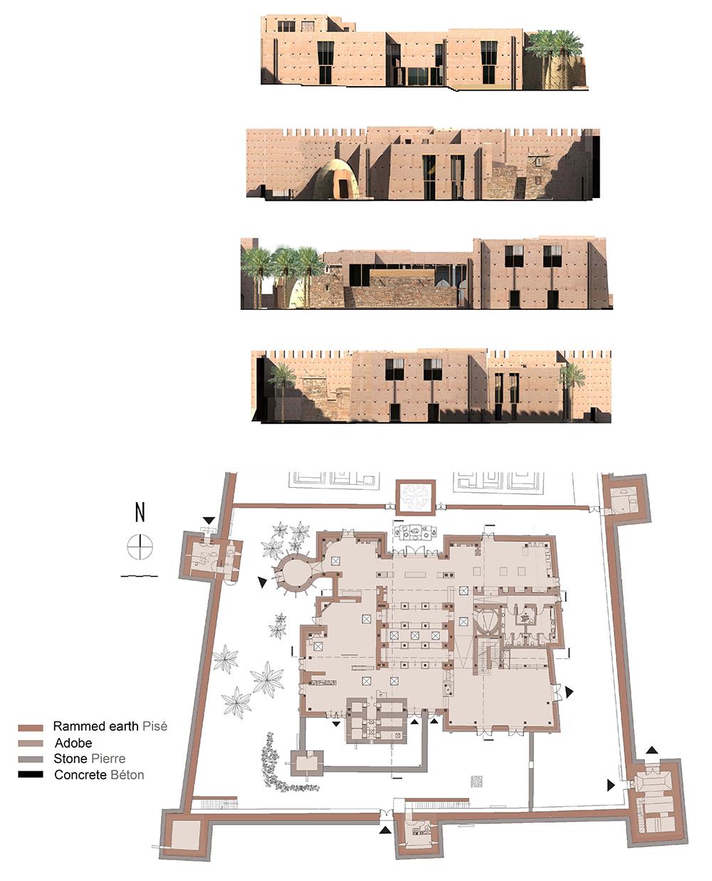 Figure 15: Plan des matériaux, façades, Salima Naji ©.