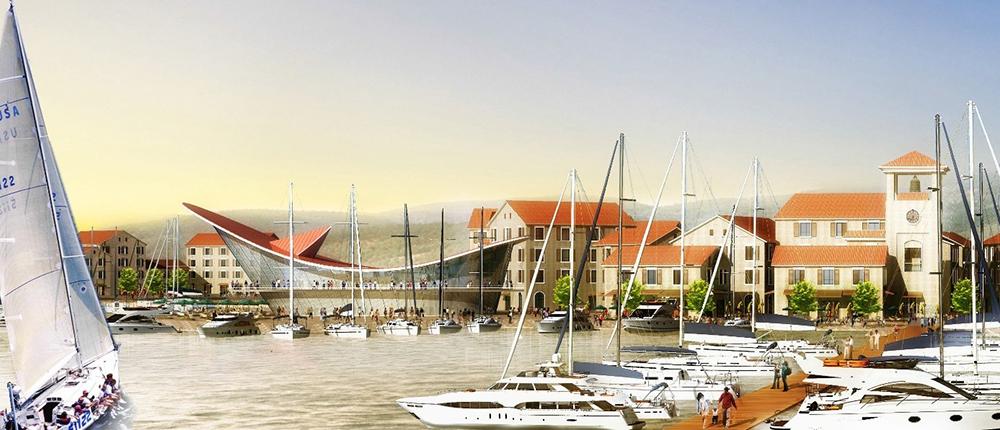 Figura 16. Frente marítimo de Porto Milena, con vistas al club de yates, al centro náutico y al paseo marítimo.