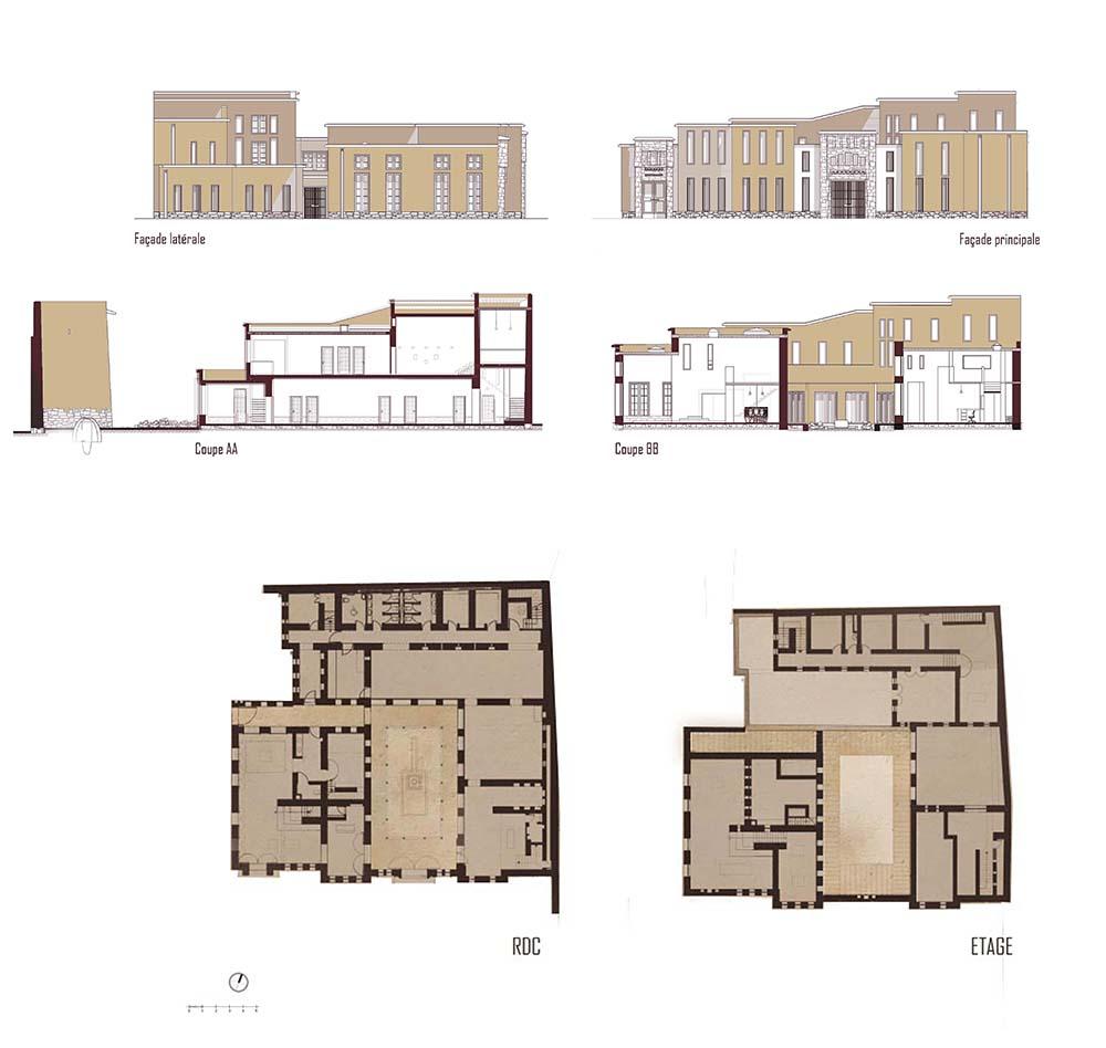 Figure 20: Plans, coupes et façades du projet de Tiguemmi n'Tamazirt ® (Ouest) et du centre de traitement des archives (Est), Salima Naji ©.