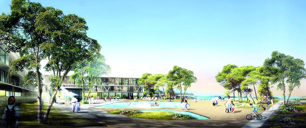 Figura 22. Jardines del hotel de Velika Plaza Beach Village, con vistas hacia las dunas y el mar.