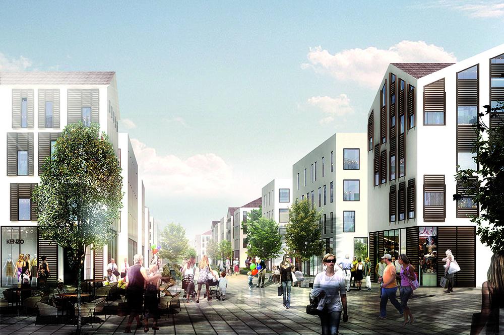 Figura 23. Bulevar peatonal central de Velika Plaza, con galerías, tiendas, bares y restaurantes.