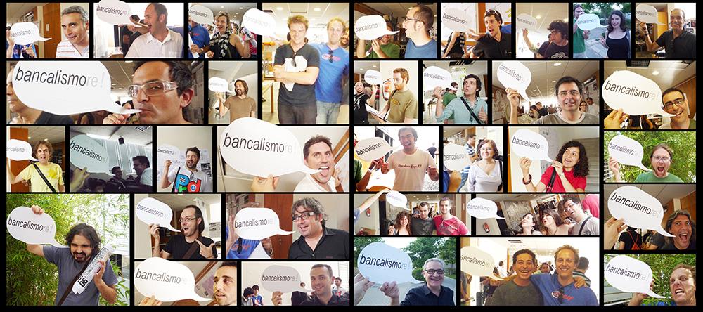 """Figura 16. Campaña """"BANCALISMORE"""" en la Escuela de Arquitectura de la Universidad de Alicante en la que participaron profesores, alumnos e invitados  como es el caso de BjarkeIngels. Instalación incluida en la publicación inédita de los talleres pH , 2009."""