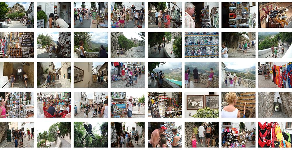 Figura 20. Secuencia de fotos que muestra la actual situación del Castell de Guadalest. Material producido para la publicación inédita de los talleres pH , 2009.