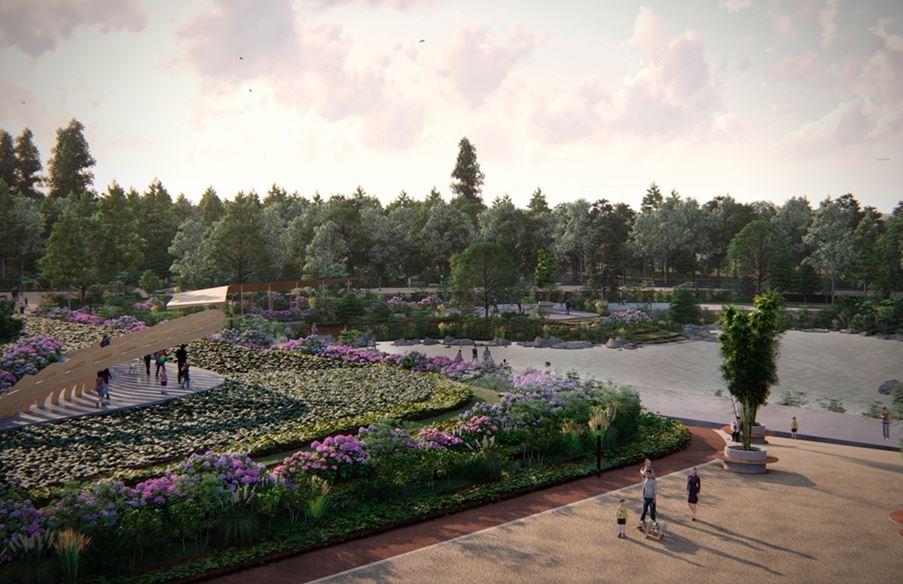 Figura 12. La imagen muestra las plazas y ciclovía que se encontrarán a lo largo del parque.