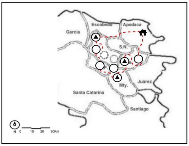 """Figura 2. Ejemplos de """"Mapas por hogares de uso del territorio y el tiempo en desplazamientos cotidianos y frecuentes"""" de los hogares analizados en la zona periférica estudiada en el AMM en México."""