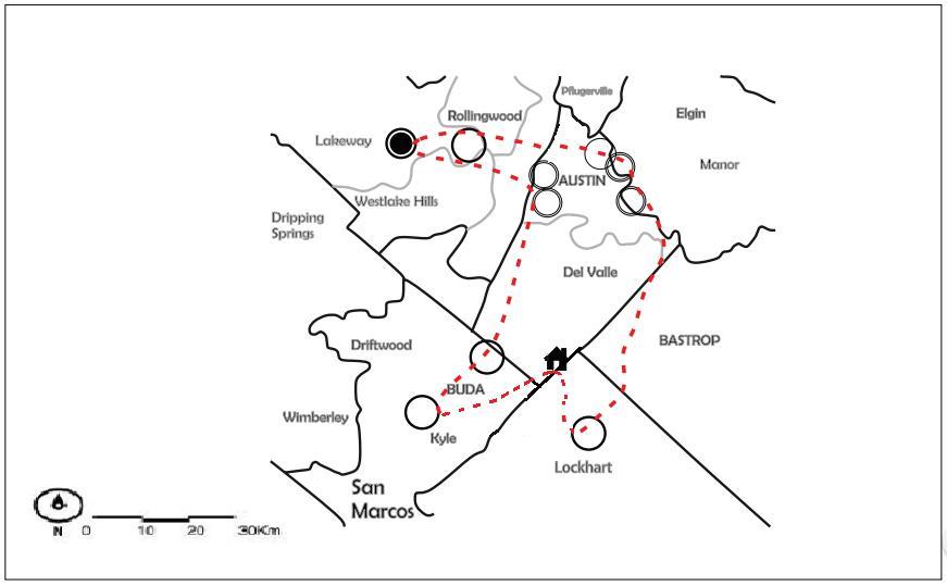 """Figura 4. Ejemplos de """"Mapas por hogares de uso del territorio y el tiempo en desplazamientos cotidianos y frecuentes"""" de hogares analizados en la zona periférica estudiada en el Área Metropolitana de Austin en EUA"""