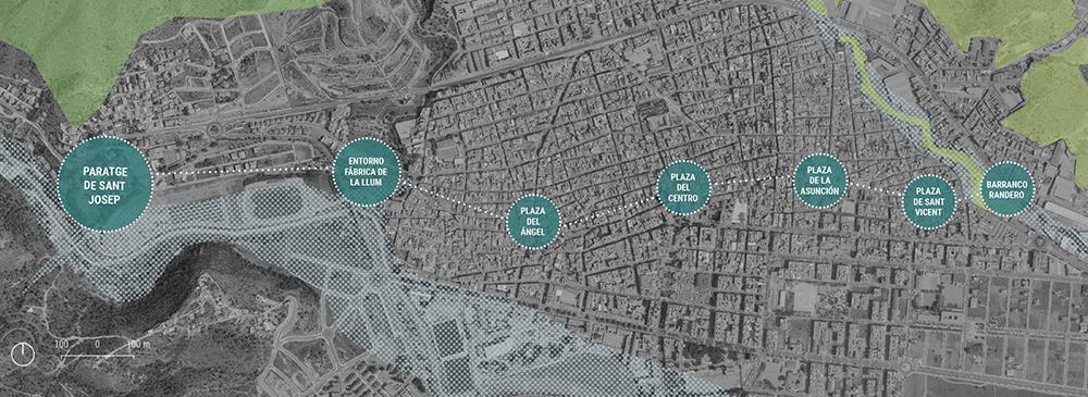 Figura 2. El ámbito del programa de paisaje se relaciona con el trazado de la antigua acequia madre, que recorría el núcleo urbano en dirección oeste-este y que ahora actúa como conectora de los grandes recursos de la infraestructura verde y azul ubicados en ambos extremos de la ciudad consolidada.