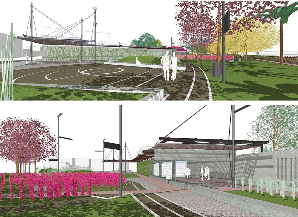 Figura 7 y 8. Vista del espacio público Plaza de las Carretas hacia el muro de la escuela 9