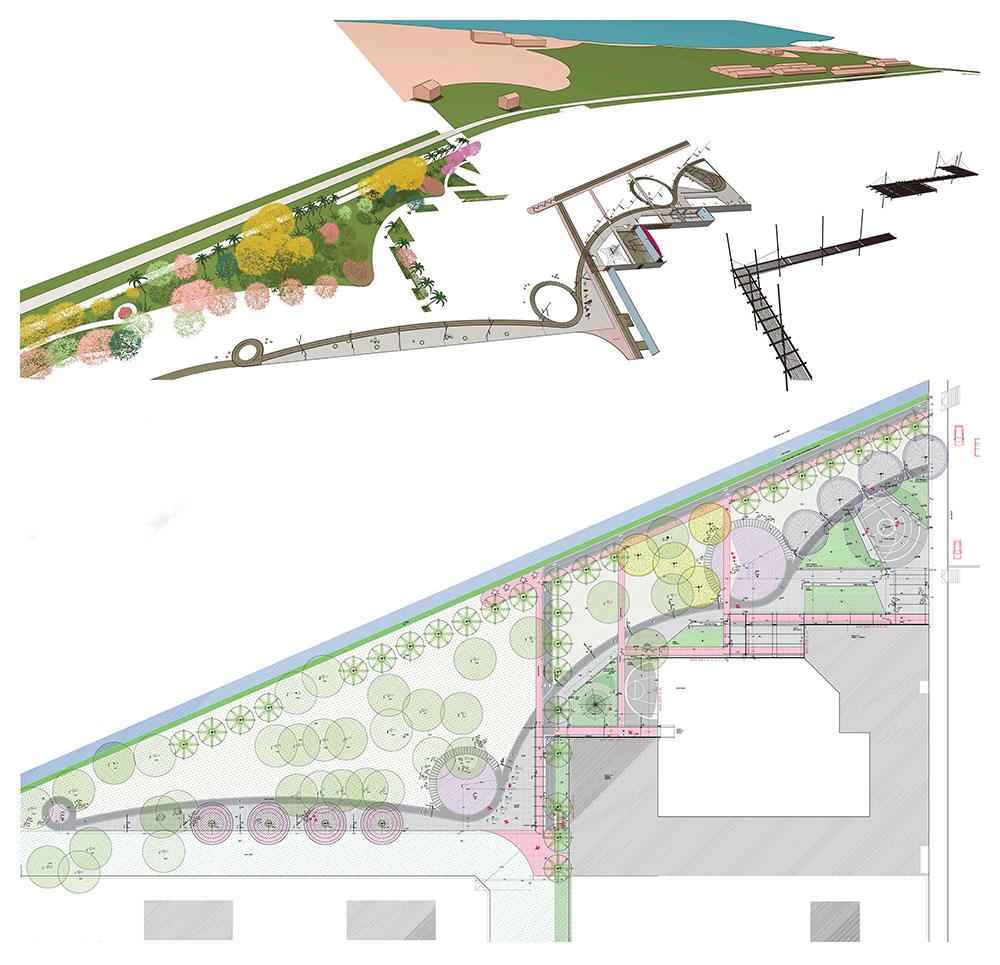 Figura 11. Despiese de elementos constitutivos de la propuesta de la Plaza de las Carretas (vegetacion/ pavimentos/ pergolas) Figura 12. Planta del sector a intervenir