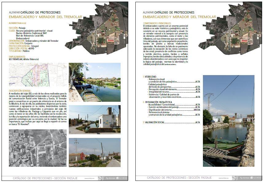 Figura 17. Ficha de la Sección de Paisaje del Catálogo de Protecciones del recurso: Embarcadero y Mirador del Tremolar. Hojas 1 y 2. Producción propia