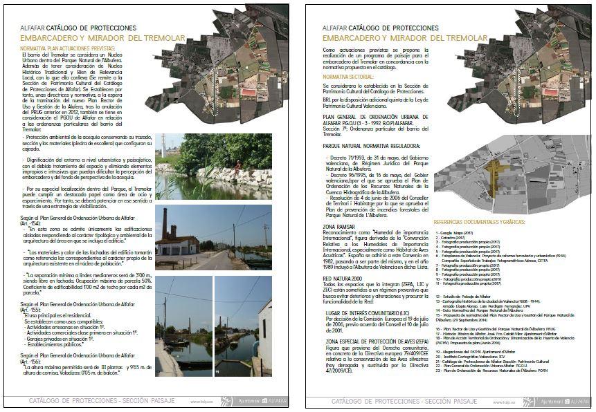 Figura 18. Ficha de la Sección de Paisaje del Catálogo de Protecciones del recurso: Embarcadero y Mirador del Tremolar. Hojas 3 y 4. Producción propia