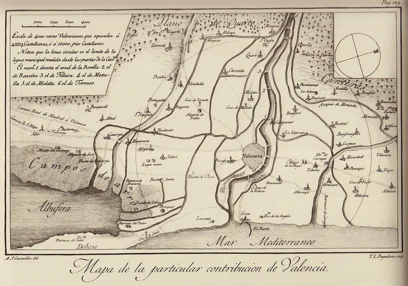 Figura 2. Mapa de la particular contribución de Valencia. Antonio José Cabanilles 1795.