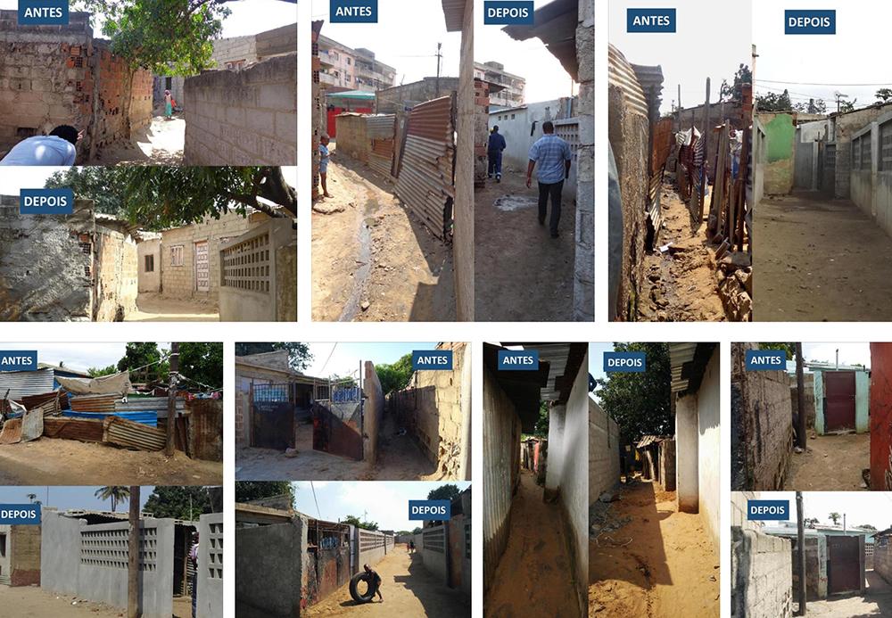 Figura 8: Varias secuencias ilustran la transformación del espacio público en Chamanculo C. El cambio experimentado en el vecindario afianza los lazos con la comunidad y aumenta la confianza depositada en el proyecto. Fotografías: ASF.