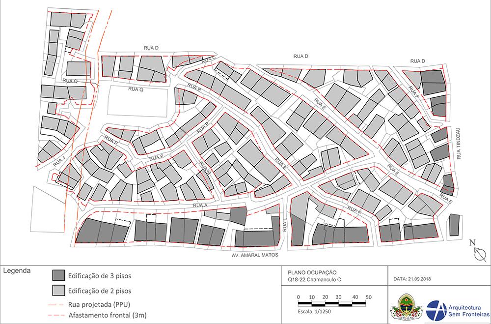 """Figura 16. Plano de ocupación de los """"quarterões"""" del 18 al 22, en el barrio de Chamanculo C. Elaboración: Conselho Municipal de Maputo y ASF"""