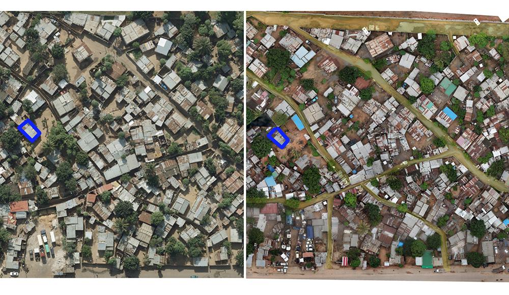 Figura 17: fotografía aérea de antes a la izquierda y después a la derecha. Se observa como las calles han aparecido estructurando el barrio. En azul una de las construcciones a modo de referencia. Fuente: ASF