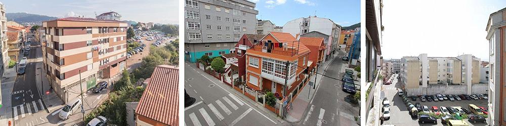 Figura 7. Diferentes perspectivas del centro urbano de Cangas, fuente: Inmobiliaria Lares