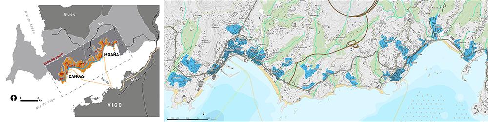 Figura 15. Localización del ámbito en la Ría de Vigo e identificación de las islas urbanas (paso previo al diseño de los trazados y de las restantes actuaciones), autor: Estudio Rurban