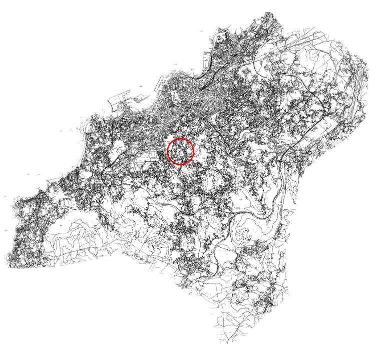 Figura 1. Situación del ámbito del PEP Monte de la Mina en el término municipal de Vigo, sobre la ortofoto y sobre cartografía.