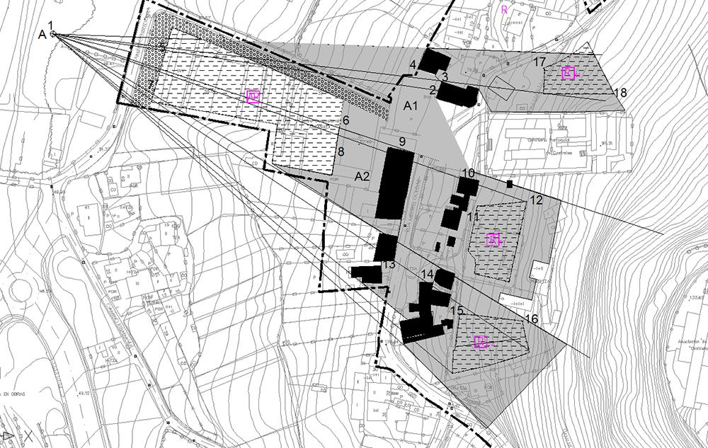 Figura 21. Plano de visuales desde el punto A en los jardines (sup.); Plano de secciones de visuales por la subparcela A1 Norte y A2 Sur de la parcela de ASPANAEX (inf.).