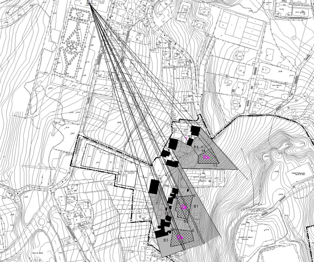 Figura 22. Plano de planta de visuales desde la terraza de la torre del pazo (sup.) y planos en sección de dichas visuales en dirección a la iglesia parroquial y a las zonas de posible edificación (inf.).