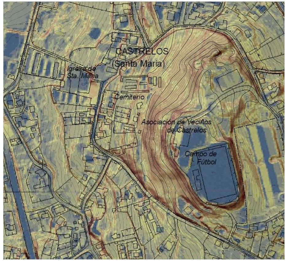 Figura 2. Topografía, clinométrico y secciones del ámbito del PEP Monte de la Mina.
