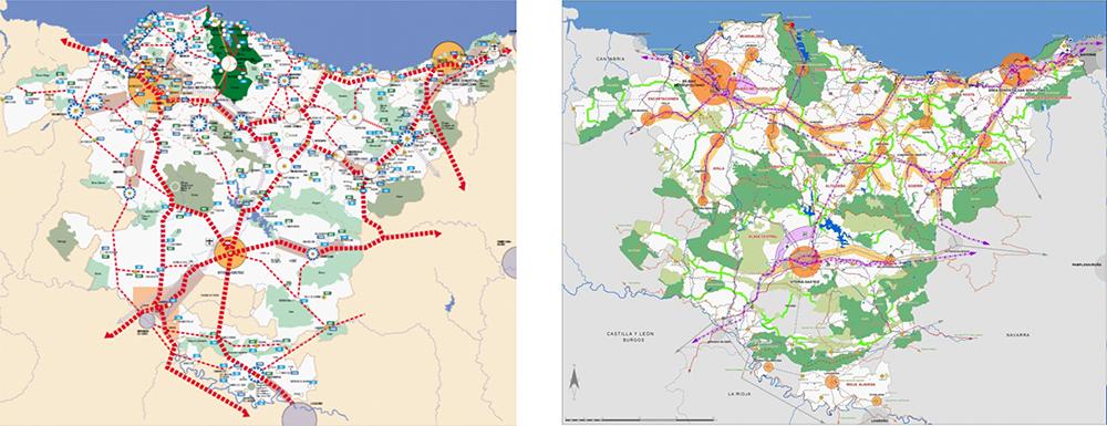 Figuras 13 y 14. A la izquierda, mapa de síntesis de las DOT de 1997. A la derecha, Mapa de síntesisde la Aprobación Inicial de la Revisión de las DOT de 2017